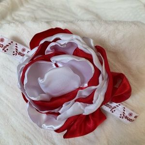 Other - Handmade red and white holiday headband